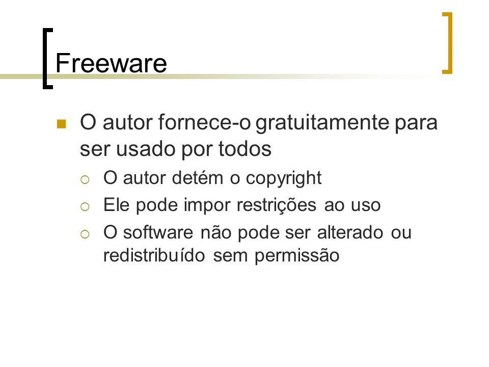 Freeware O autor fornece-o gratuitamente para ser usado por todos O autor detém o copyright Ele pode impor restrições ao uso O software não pode ser a