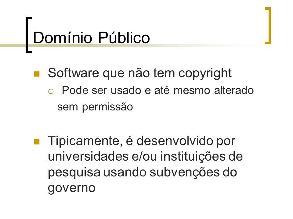 Domínio Público Software que não tem copyright Pode ser usado e até mesmo alterado sem permissão Tipicamente, é desenvolvido por universidades e/ou in