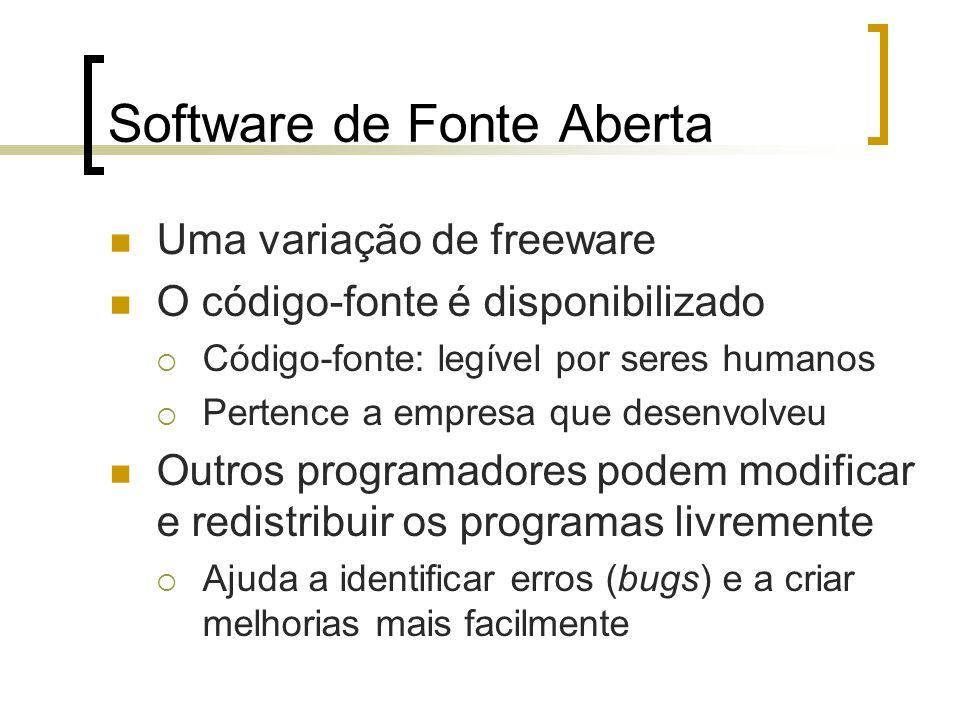 Software de Fonte Aberta Uma variação de freeware O código-fonte é disponibilizado Código-fonte: legível por seres humanos Pertence a empresa que dese