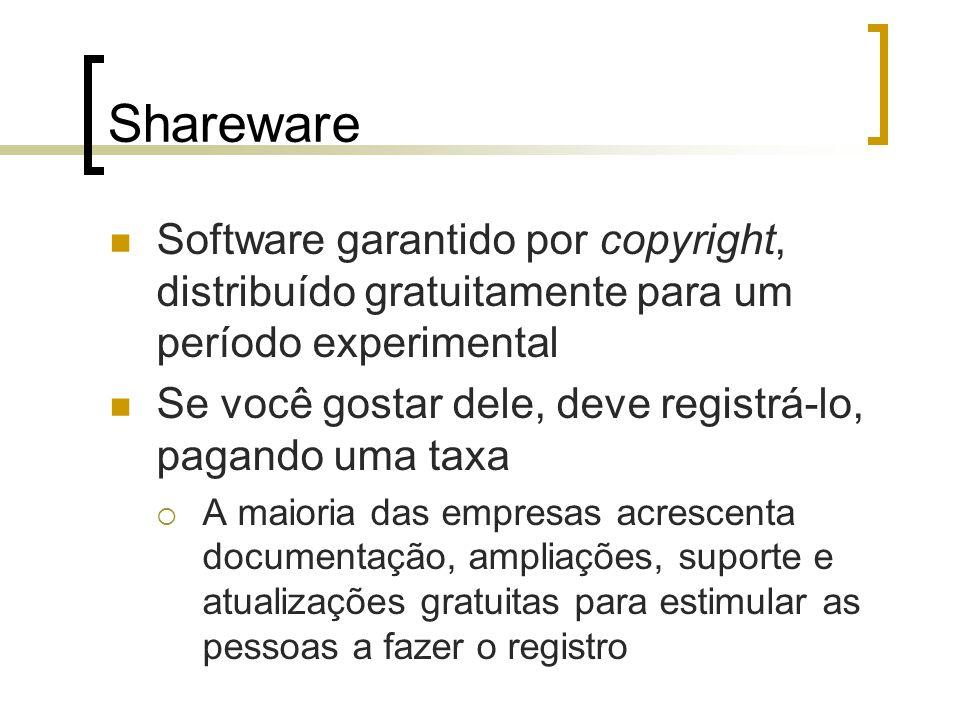 Shareware Software garantido por copyright, distribuído gratuitamente para um período experimental Se você gostar dele, deve registrá-lo, pagando uma