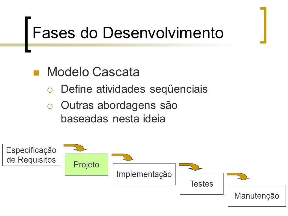Fases do Desenvolvimento Modelo Cascata Define atividades seqüenciais Outras abordagens são baseadas nesta ideia Especificação de Requisitos Projeto I