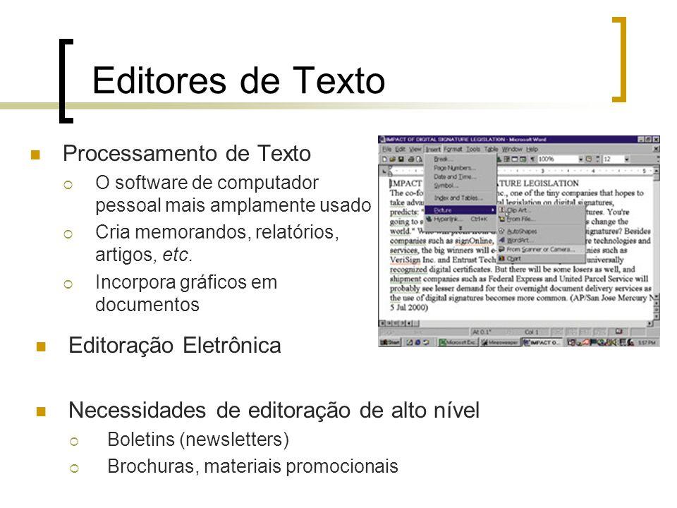 Editores de Texto Processamento de Texto O software de computador pessoal mais amplamente usado Cria memorandos, relatórios, artigos, etc. Incorpora g