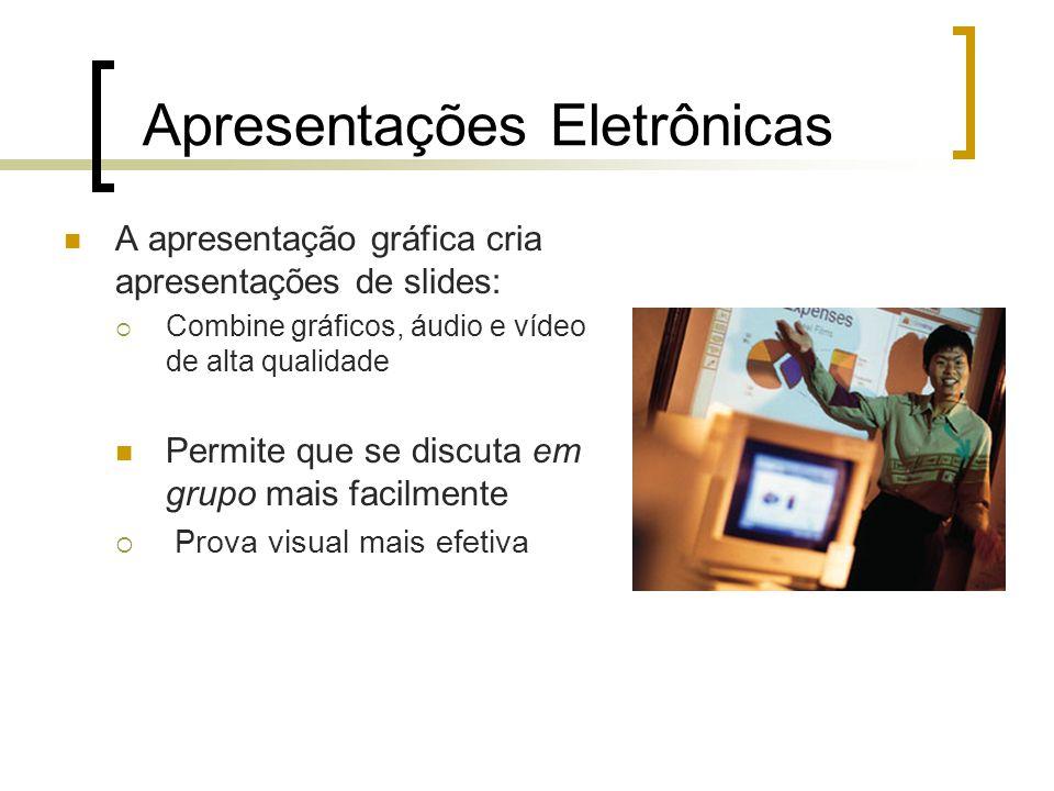 Apresentações Eletrônicas A apresentação gráfica cria apresentações de slides: Combine gráficos, áudio e vídeo de alta qualidade Permite que se discut