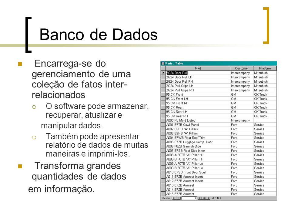 Banco de Dados Encarrega-se do gerenciamento de uma coleção de fatos inter- relacionados O software pode armazenar, recuperar, atualizar e manipular d