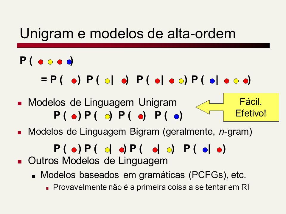 Unigram e modelos de alta-ordem Modelos de Linguagem Unigram Modelos de Linguagem Bigram (geralmente, n-gram) Outros Modelos de Linguagem Modelos baseados em gramáticas (PCFGs), etc.