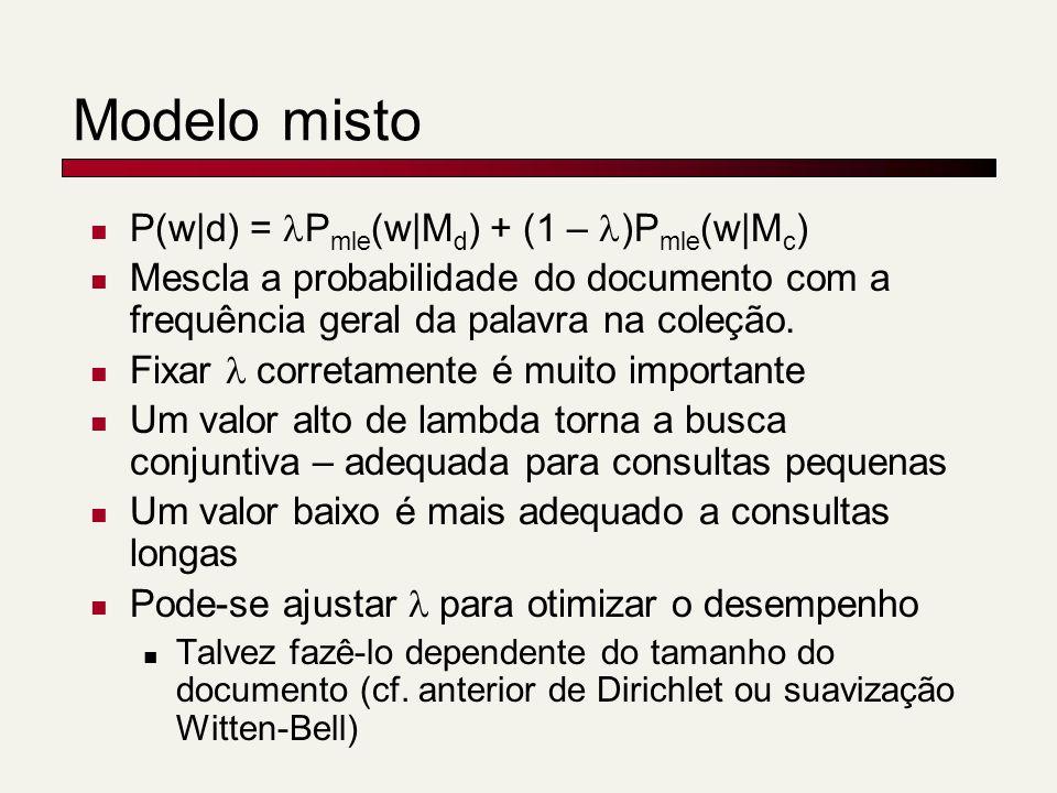 Modelo misto P(w|d) = P mle (w|M d ) + (1 – )P mle (w|M c ) Mescla a probabilidade do documento com a frequência geral da palavra na coleção. Fixar co