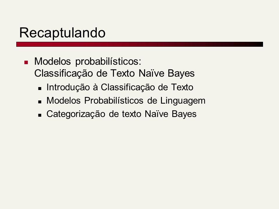 Recaptulando Modelos probabilísticos: Classificação de Texto Naïve Bayes Introdução à Classificação de Texto Modelos Probabilísticos de Linguagem Categorização de texto Naïve Bayes
