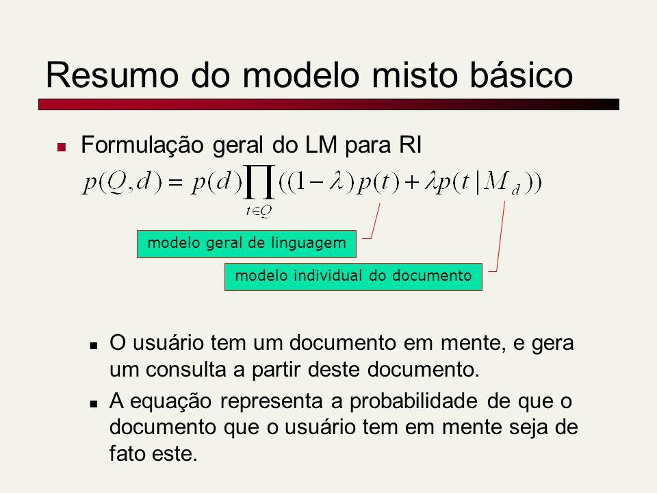 Resumo do modelo misto básico Formulação geral do LM para RI O usuário tem um documento em mente, e gera um consulta a partir deste documento.