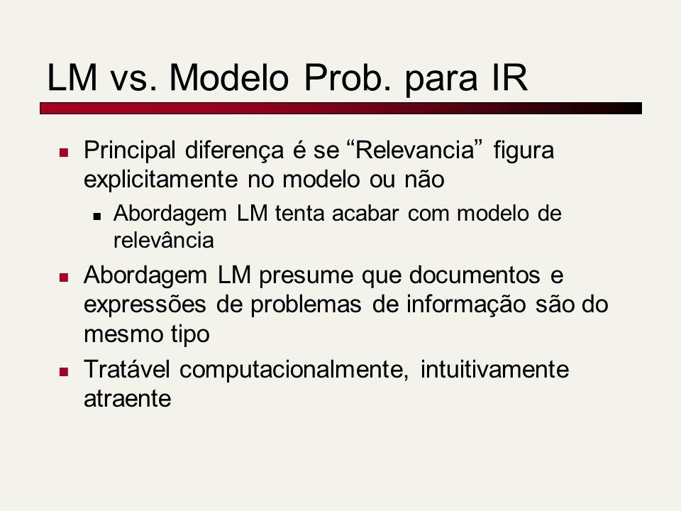 Principal diferença é se Relevancia figura explicitamente no modelo ou não Abordagem LM tenta acabar com modelo de relevância Abordagem LM presume que documentos e expressões de problemas de informação são do mesmo tipo Tratável computacionalmente, intuitivamente atraente LM vs.