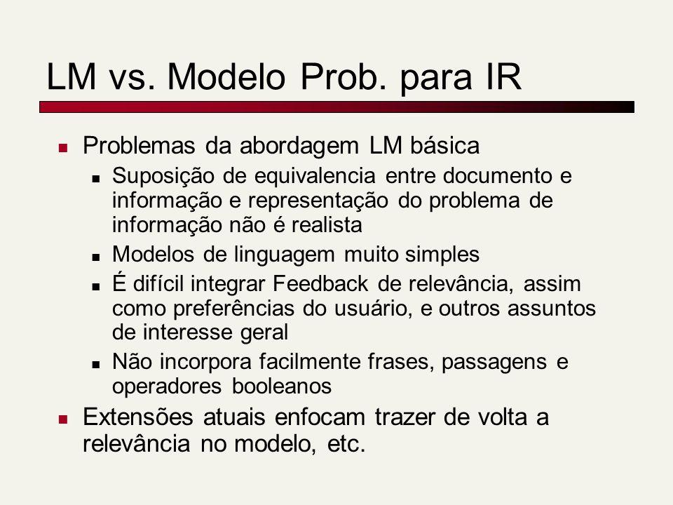 Problemas da abordagem LM básica Suposição de equivalencia entre documento e informação e representação do problema de informação não é realista Model