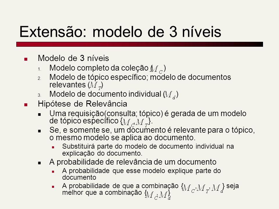 Extensão: modelo de 3 níveis Modelo de 3 níveis 1. Modelo completo da coleção ( ) 2. Modelo de tópico específico; modelo de documentos relevantes ( )