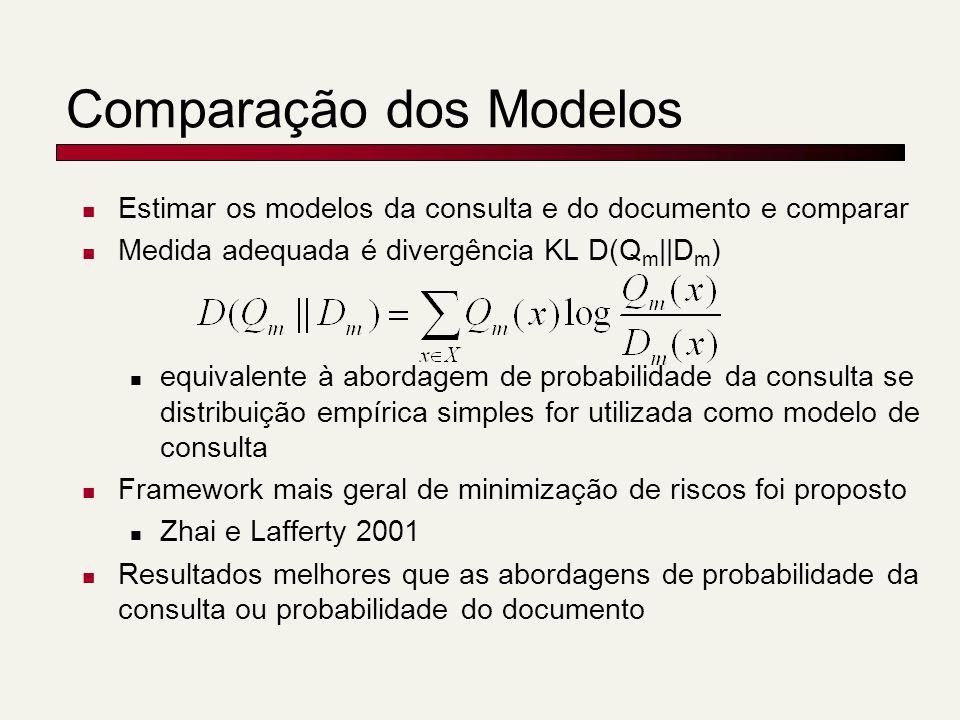 Comparação dos Modelos Estimar os modelos da consulta e do documento e comparar Medida adequada é divergência KL D(Q m ||D m ) equivalente à abordagem de probabilidade da consulta se distribuição empírica simples for utilizada como modelo de consulta Framework mais geral de minimização de riscos foi proposto Zhai e Lafferty 2001 Resultados melhores que as abordagens de probabilidade da consulta ou probabilidade do documento