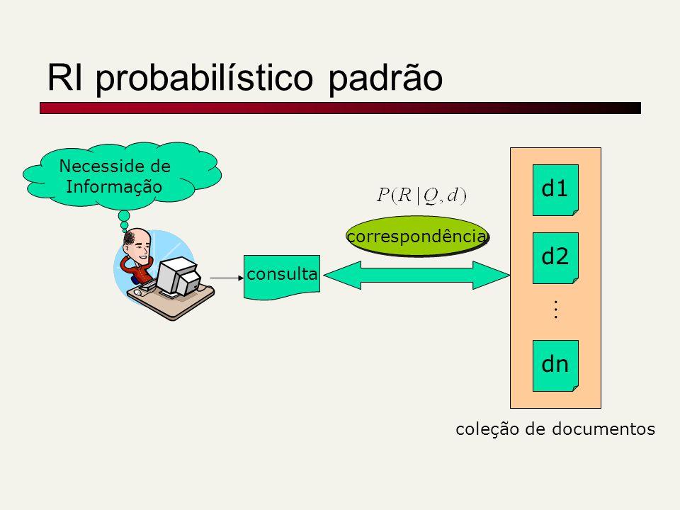 Suavização em dois estágios c(w,d) |d| P(w|d) = + p(w|C) + 1º estágio -Explica palavras não vistas -Anterior Dirichlet (Bayesian) (1- )+ p(w|U) 2º estágio -Explica ruído na consulta -Misto de dois componentes