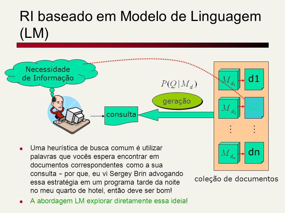 RI baseado em Modelo de Linguagem (LM) consulta d1 d2 dn … Necessidade de Informação coleção de documentos geração … Uma heurística de busca comum é u