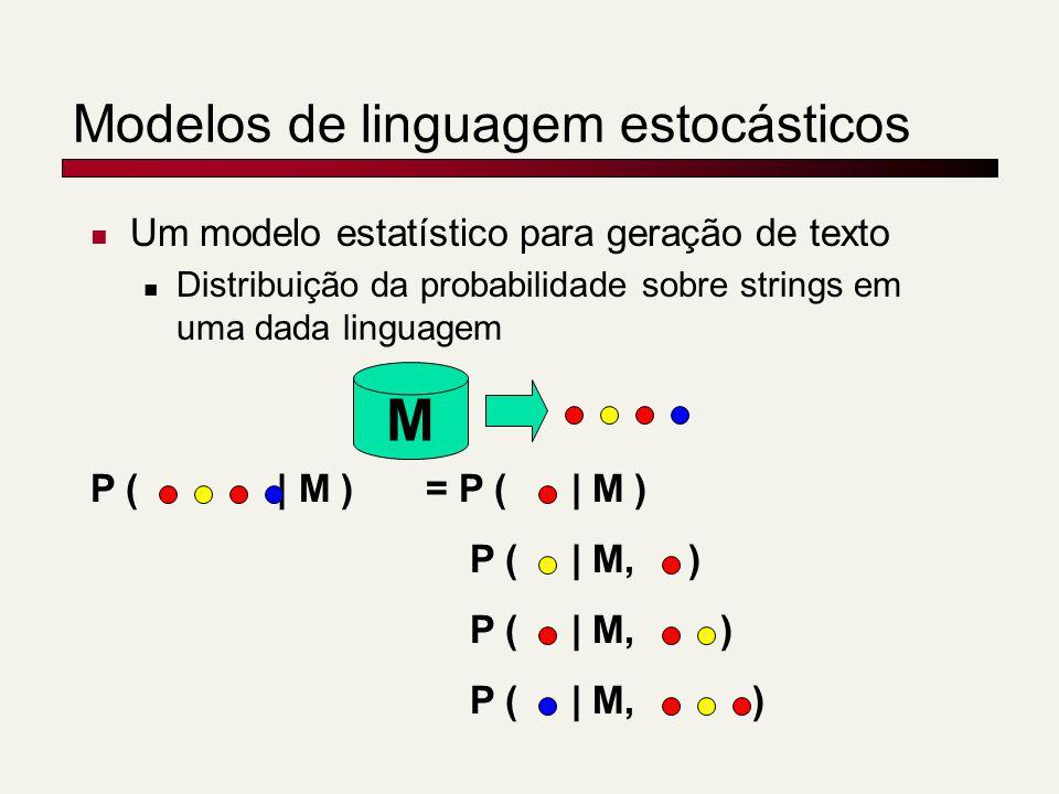 Modelos de linguagem estocásticos Um modelo estatístico para geração de texto Distribuição da probabilidade sobre strings em uma dada linguagem M P (
