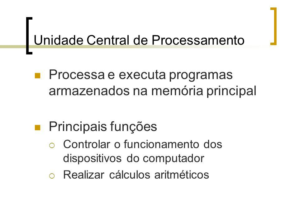 Unidade Central de Processamento Processa e executa programas armazenados na memória principal Principais funções Controlar o funcionamento dos dispositivos do computador Realizar cálculos aritméticos