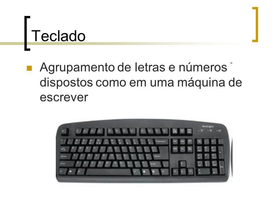 Teclado Agrupamento de letras e números dispostos como em uma máquina de escrever