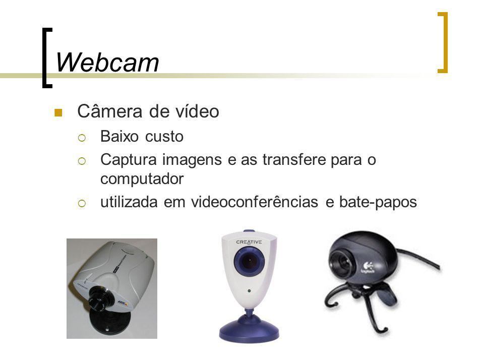 Webcam Câmera de vídeo Baixo custo Captura imagens e as transfere para o computador utilizada em videoconferências e bate-papos