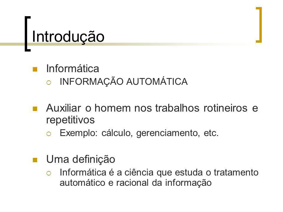 Introdução Informática INFORMAÇÃO AUTOMÁTICA Auxiliar o homem nos trabalhos rotineiros e repetitivos Exemplo: cálculo, gerenciamento, etc.