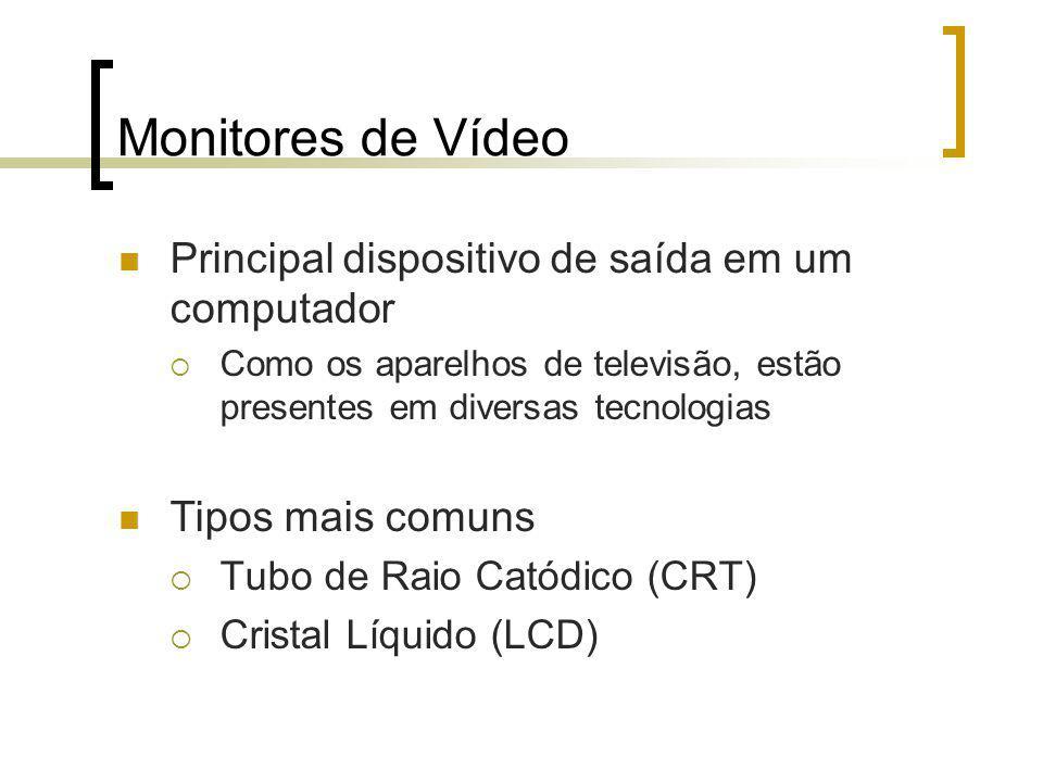 Monitores de Vídeo Principal dispositivo de saída em um computador Como os aparelhos de televisão, estão presentes em diversas tecnologias Tipos mais comuns Tubo de Raio Catódico (CRT) Cristal Líquido (LCD)