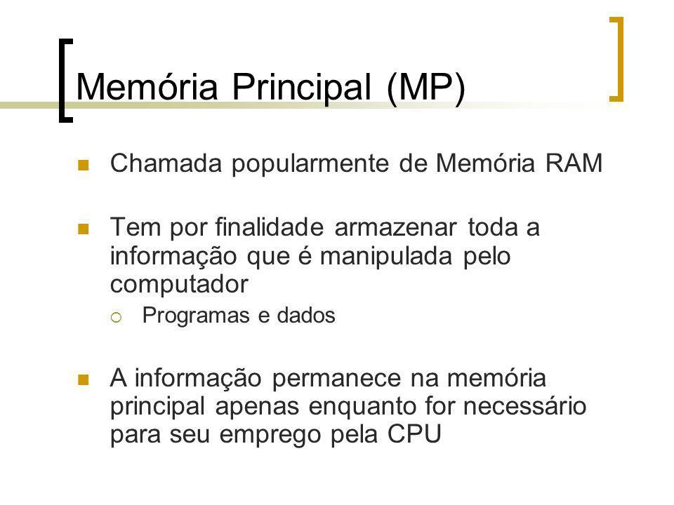 Memória Principal (MP) Chamada popularmente de Memória RAM Tem por finalidade armazenar toda a informação que é manipulada pelo computador Programas e dados A informação permanece na memória principal apenas enquanto for necessário para seu emprego pela CPU