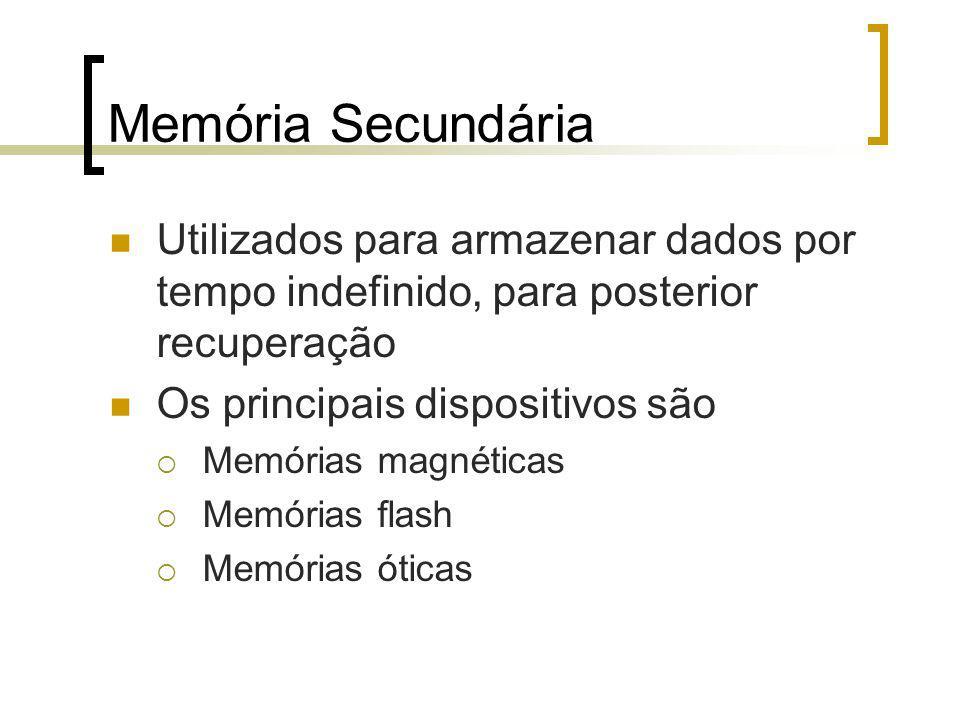 Memória Secundária Utilizados para armazenar dados por tempo indefinido, para posterior recuperação Os principais dispositivos são Memórias magnéticas Memórias flash Memórias óticas