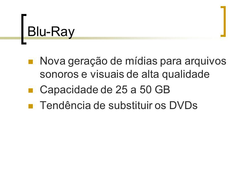 Blu-Ray Nova geração de mídias para arquivos sonoros e visuais de alta qualidade Capacidade de 25 a 50 GB Tendência de substituir os DVDs