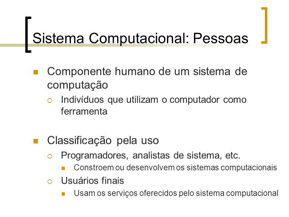 Sistema Computacional: Pessoas Componente humano de um sistema de computação Indivíduos que utilizam o computador como ferramenta Classificação pela uso Programadores, analistas de sistema, etc.