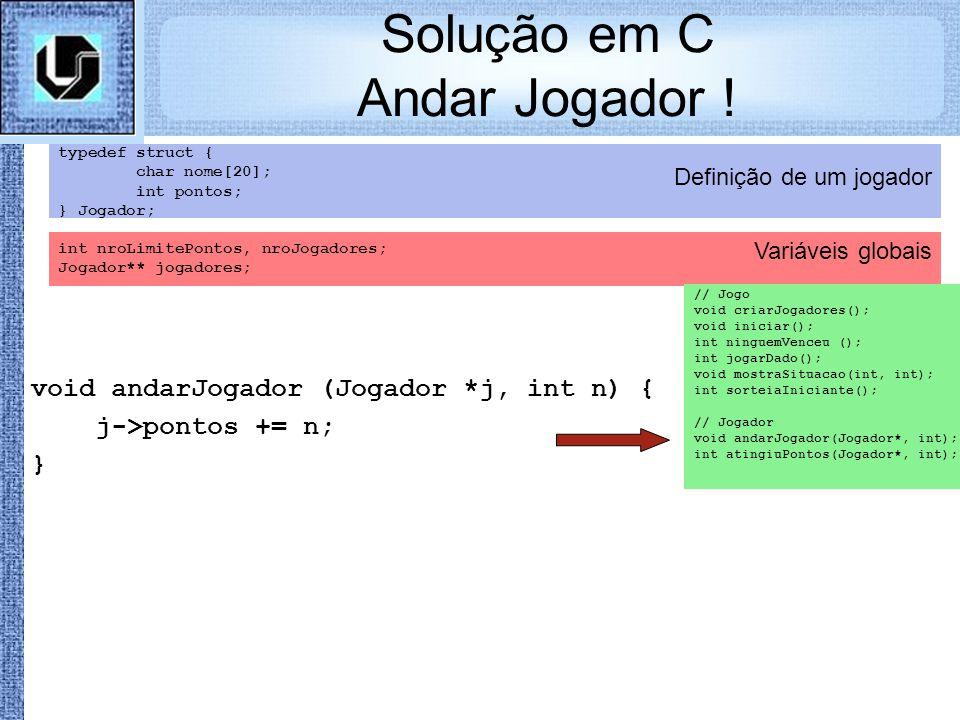 Variáveis globais Definição de um jogador Solução em C Andar Jogador ! typedef struct { char nome[20]; int pontos; } Jogador; int nroLimitePontos, nro
