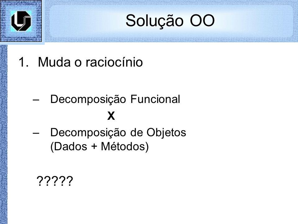 Solução OO 1.Muda o raciocínio –Decomposição Funcional X –Decomposição de Objetos (Dados + Métodos) ?????