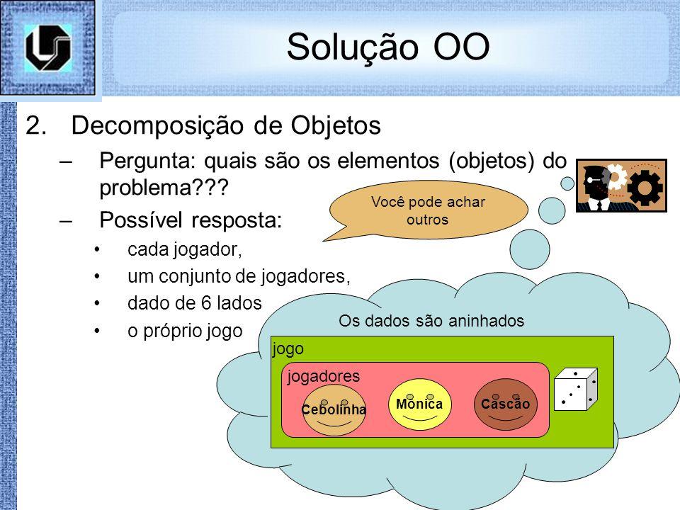 Solução OO 2.Decomposição de Objetos –Pergunta: quais são os elementos (objetos) do problema??? –Possível resposta: cada jogador, um conjunto de jogad
