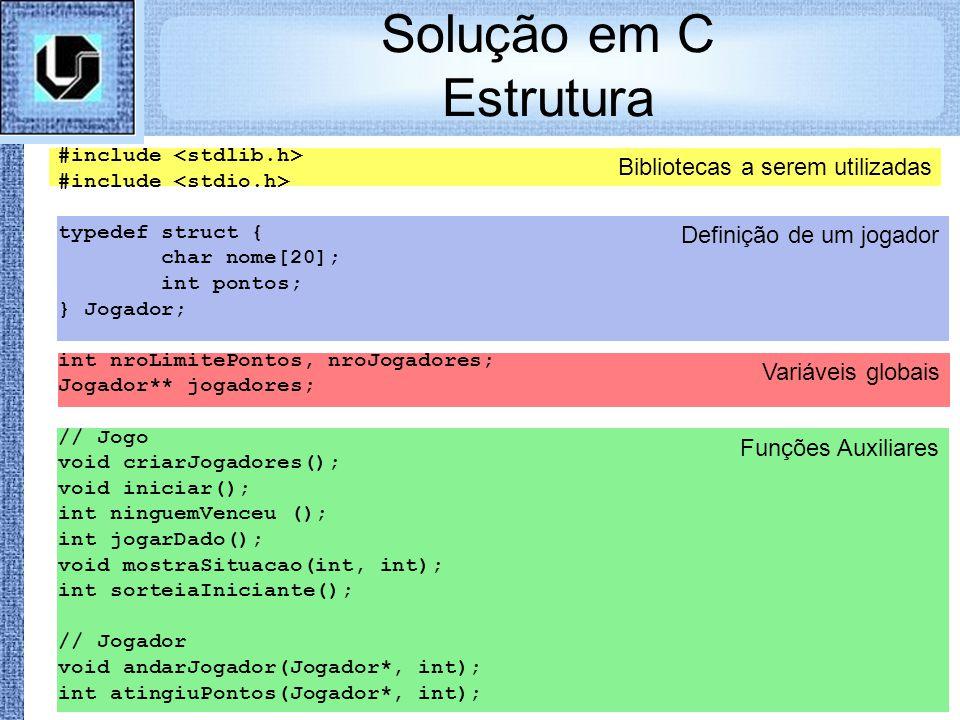 Funções Auxiliares Variáveis globais Bibliotecas a serem utilizadas Definição de um jogador Solução em C Estrutura #include typedef struct { char nome