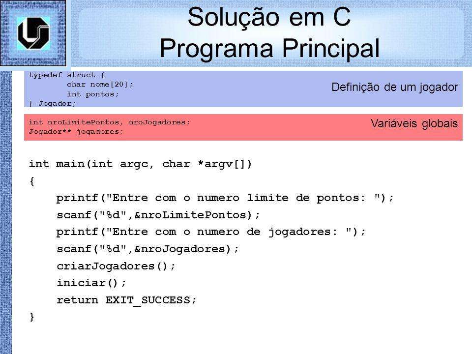Variáveis globais Definição de um jogador Solução em C Programa Principal typedef struct { char nome[20]; int pontos; } Jogador; int nroLimitePontos,