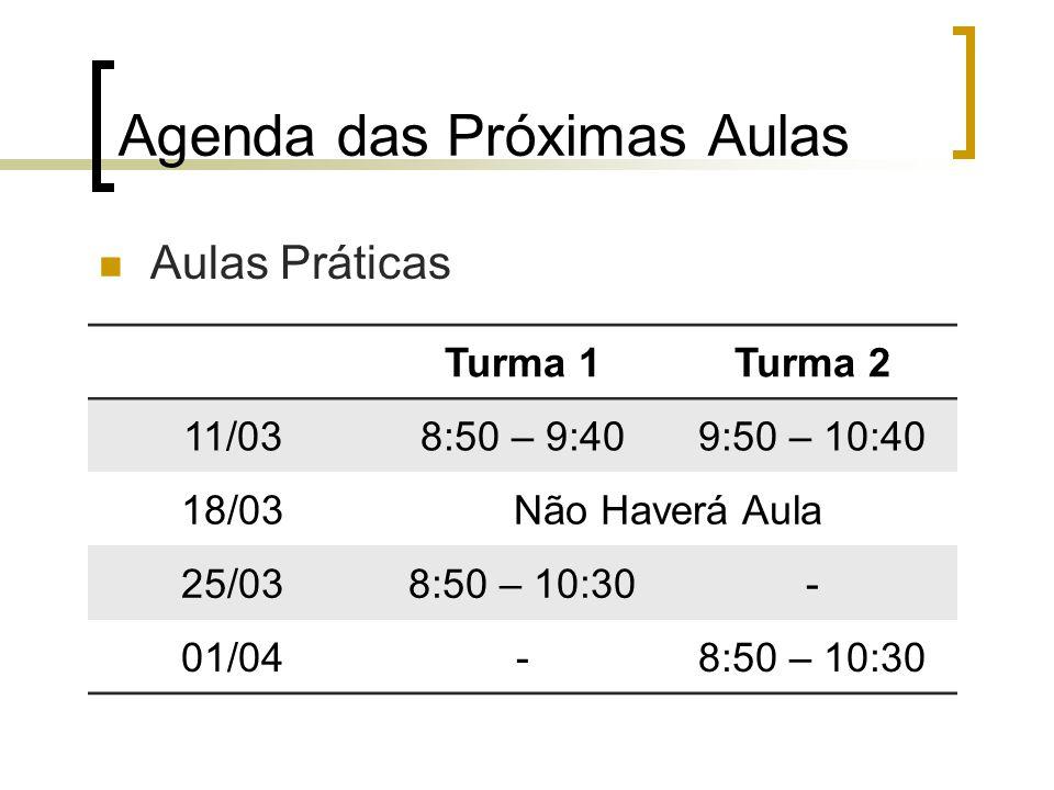 Agenda das Próximas Aulas Turma 1Turma 2 11/038:50 – 9:409:50 – 10:40 18/03Não Haverá Aula 25/038:50 – 10:30- 01/04-8:50 – 10:30 Aulas Práticas