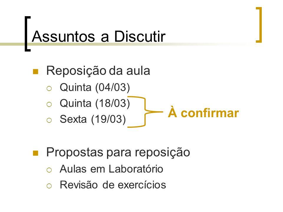 Assuntos a Discutir Reposição da aula Quinta (04/03) Quinta (18/03) Sexta (19/03) Propostas para reposição Aulas em Laboratório Revisão de exercícios