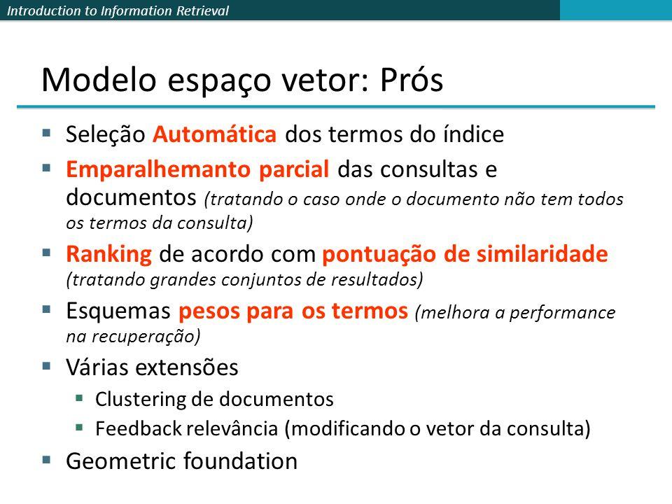 Introduction to Information Retrieval Modelo espaço vetor: Prós Seleção Automática dos termos do índice Emparalhemanto parcial das consultas e documen