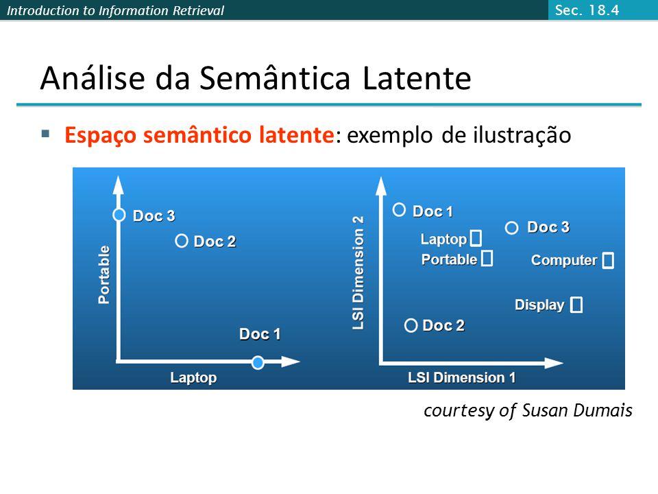Introduction to Information Retrieval Análise da Semântica Latente Espaço semântico latente: exemplo de ilustração courtesy of Susan Dumais Sec. 18.4