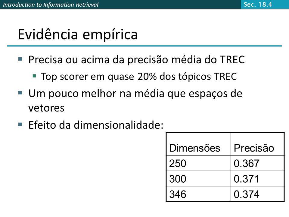 Introduction to Information Retrieval Evidência empírica Precisa ou acima da precisão média do TREC Top scorer em quase 20% dos tópicos TREC Um pouco melhor na média que espaços de vetores Efeito da dimensionalidade: DimensõesPrecisão 2500.367 3000.371 3460.374 Sec.