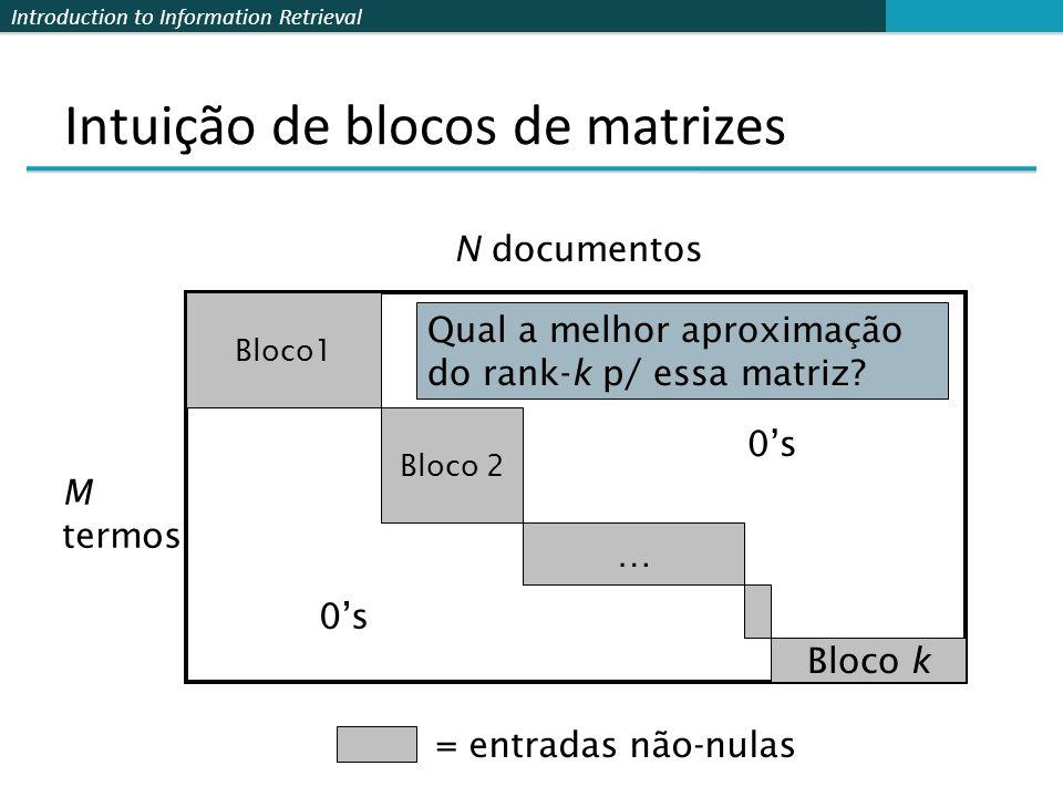 Introduction to Information Retrieval Intuição de blocos de matrizes Bloco1 Bloco 2 … Bloco k 0s = entradas não-nulas M termos N documentos Qual a melhor aproximação do rank-k p/ essa matriz?