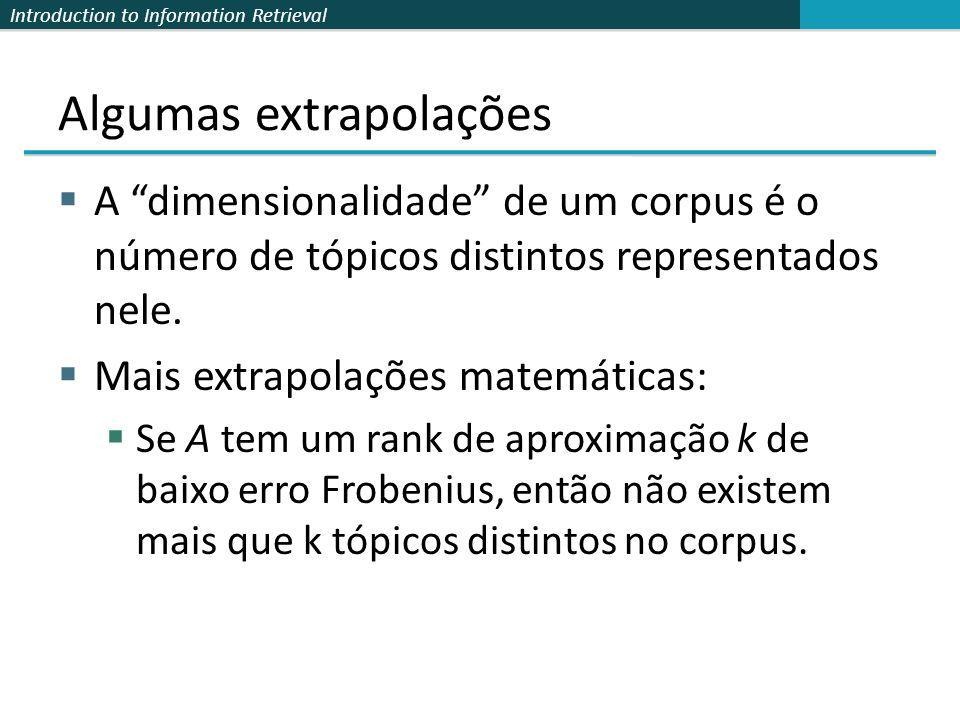 Introduction to Information Retrieval Algumas extrapolações A dimensionalidade de um corpus é o número de tópicos distintos representados nele. Mais e