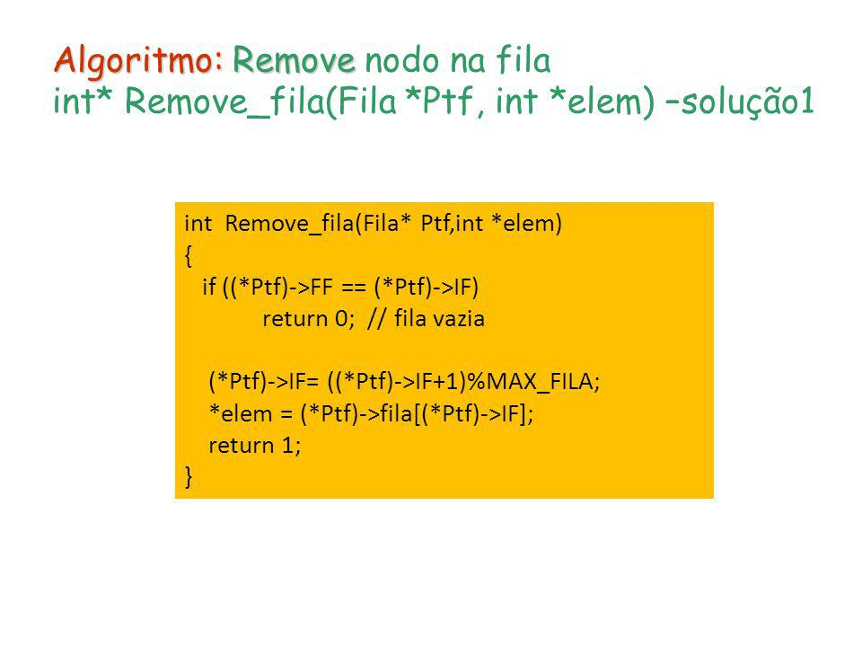 Algoritmo: Remove Algoritmo: Remove nodo na fila int* Remove_fila(Fila *Ptf, int *elem) –solução1 int Remove_fila(Fila* Ptf,int *elem) { if ((*Ptf)->F