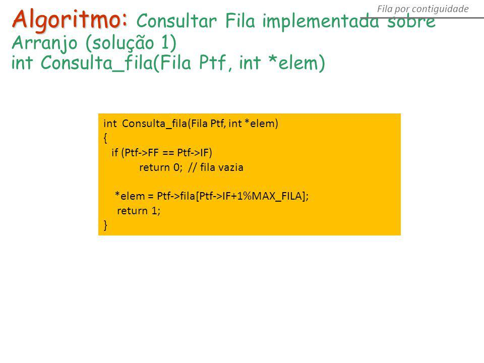 Algoritmo: Algoritmo: Consultar Fila implementada sobre Arranjo (solução 1) int Consulta_fila(Fila Ptf, int *elem) Fila por contiguidade int Consulta_