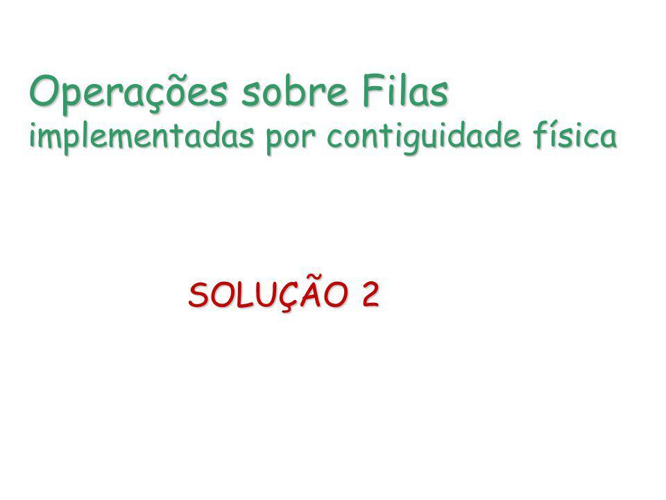 Operações sobre Filas implementadas por contiguidade física SOLUÇÃO 2 SOLUÇÃO 2