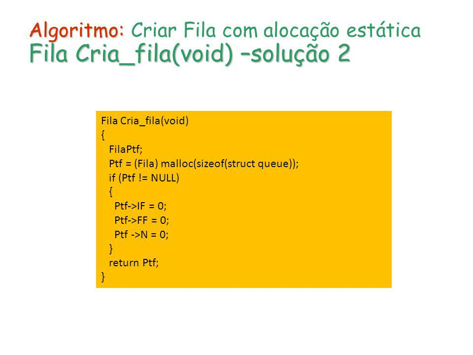 Algoritmo: Fila Cria_fila(void) –solução 2 Algoritmo: Criar Fila com alocação estática Fila Cria_fila(void) –solução 2 Fila Cria_fila(void) { FilaPtf;