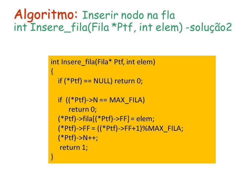 Algoritmo: Algoritmo: Inserir nodo na fla int Insere_fila(Fila *Ptf, int elem) -solução2 int Insere_fila(Fila* Ptf, int elem) { if (*Ptf) == NULL) ret