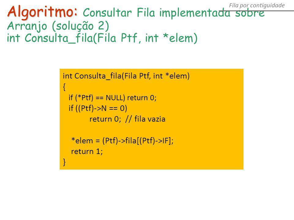 Algoritmo: Algoritmo: Consultar Fila implementada sobre Arranjo (solução 2) int Consulta_fila(Fila Ptf, int *elem) Fila por contiguidade int Consulta_
