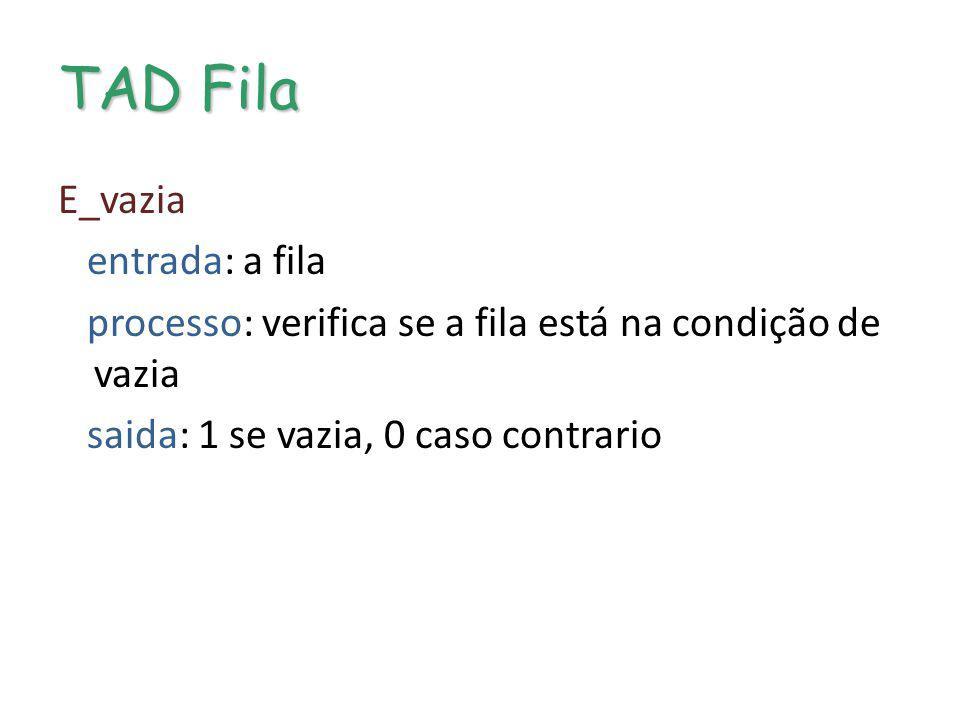 PtDFila / Prim Ult Filas por encadeamento Destruição de fila encadeada PtDFila Prim Ult PtDFila = nulo Liberar posições ocupadas pela lista Liberar descritor
