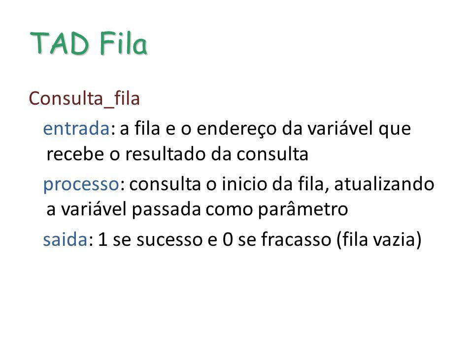 TAD Fila Consulta_fila entrada: a fila e o endereço da variável que recebe o resultado da consulta processo: consulta o inicio da fila, atualizando a