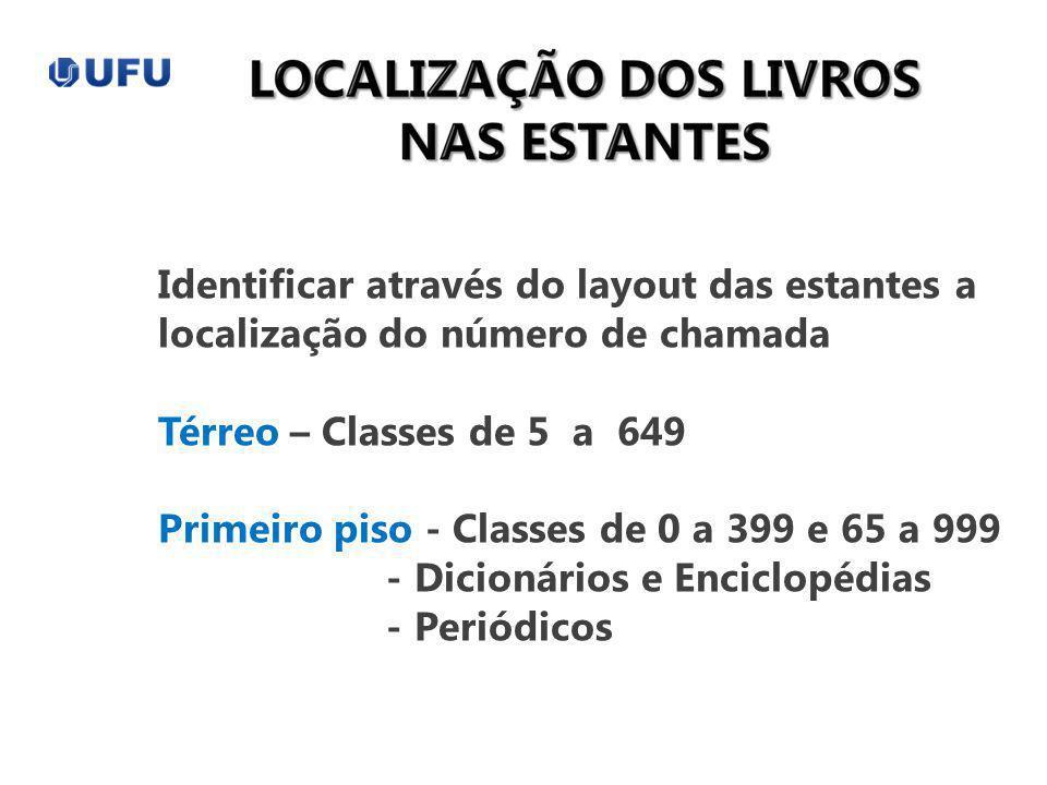 Identificar através do layout das estantes a localização do número de chamada Térreo – Classes de 5 a 649 Primeiro piso - Classes de 0 a 399 e 65 a 99