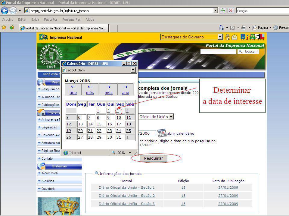 Determinar a data de interesse